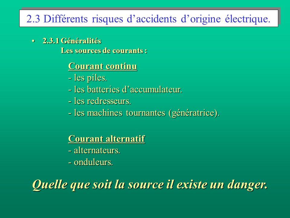 2.3 Différents risques daccidents dorigine électrique. 2.3.1 Généralités Les sources de courants :2.3.1 Généralités Les sources de courants : Courant
