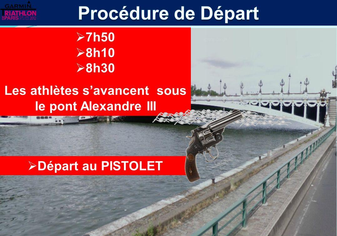 Bateau VIP Les athlètes restent dans la zone déchauffement derrière le Pont Alexandre III Pont Alexandre III Barge de mise à leau Zone échauffement