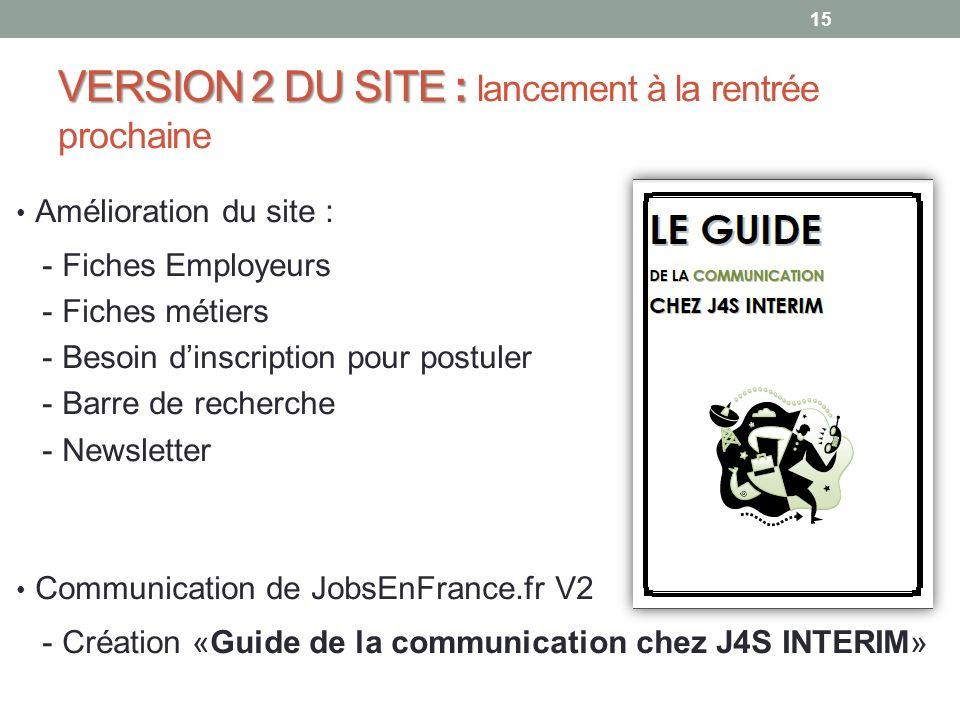 VERSION 2 DU SITE: VERSION 2 DU SITE : lancement à la rentrée prochaine Amélioration du site : - Fiches Employeurs - Fiches métiers - Besoin dinscript
