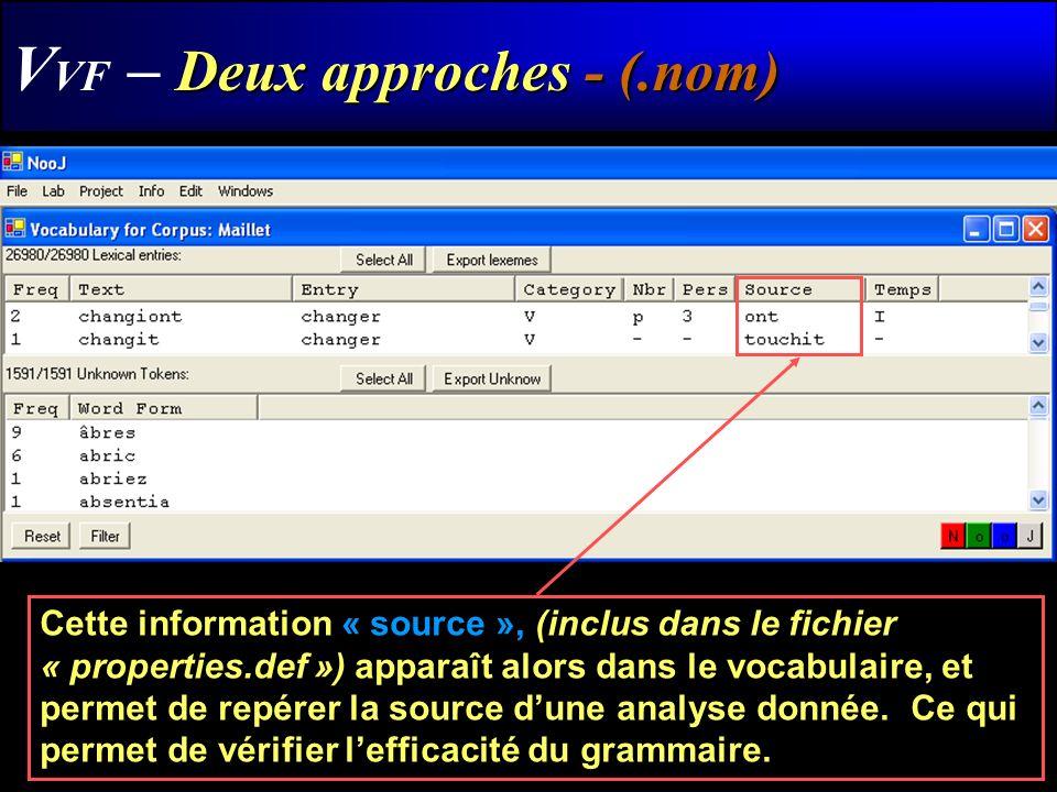 Deux approches - (.nom) V VF – Deux approches - (.nom) Cette information « source », (inclus dans le fichier « properties.def ») apparaît alors dans l