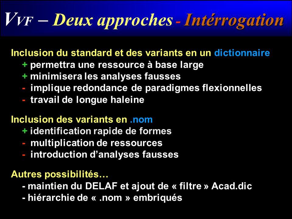 Intérrogation V VF – Deux approches - Intérrogation Inclusion du standard et des variants en un dictionnaire + permettra une ressource à base large +