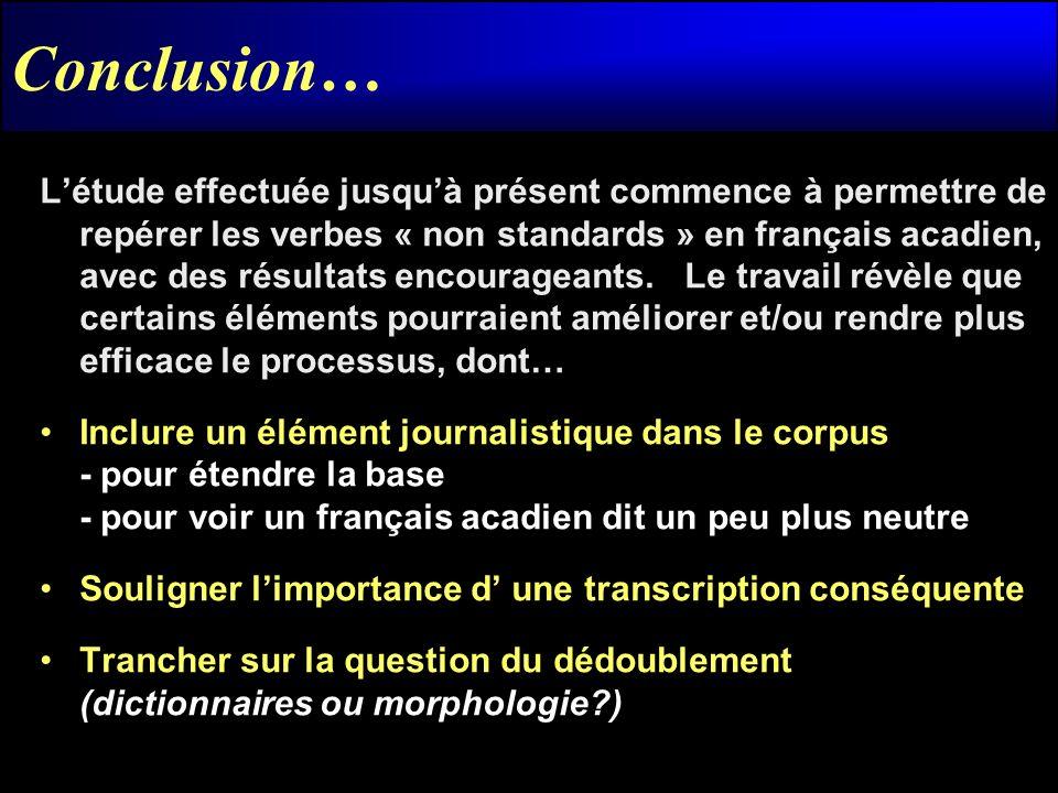 Conclusion… Létude effectuée jusquà présent commence à permettre de repérer les verbes « non standards » en français acadien, avec des résultats encou
