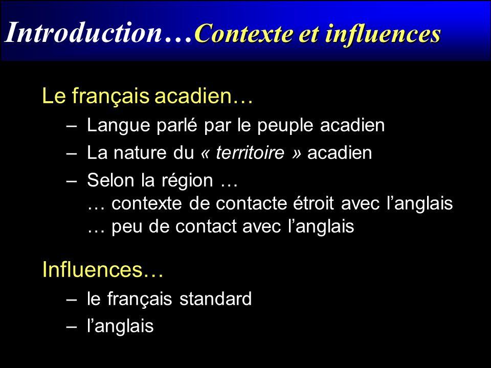 Corpus Introduction… Corpus Chiac Kasparian (1,988 ko – 317,662 mots) Maillet (9,522 ko – 188,191 mots) Malenfant (1,550 ko – 20,777 mots) Nord-Est (2,806 ko – 54,671 mots) Parkton(8.335 ko – 192,293 mots) Corpus oraux – 2 de plus, dont une région avec peu de contacte avec langlais.