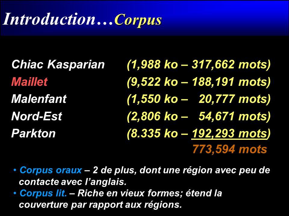 Corpus Introduction… Corpus Chiac Kasparian (1,988 ko – 317,662 mots) Maillet (9,522 ko – 188,191 mots) Malenfant (1,550 ko – 20,777 mots) Nord-Est (2