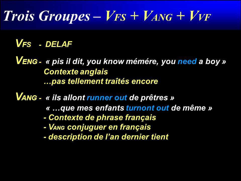 Trois Groupes – V FS + V ANG + V VF V FS - DELAF V ENG- « pis il dit, you know mémére, you need a boy » Contexte anglais …pas tellement traîtés encore