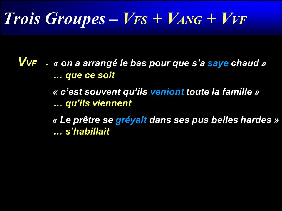Trois Groupes – V FS + V ANG + V VF V VF- « on a arrangé le bas pour que sa saye chaud » … que ce soit « cest souvent quils veniont toute la famille »