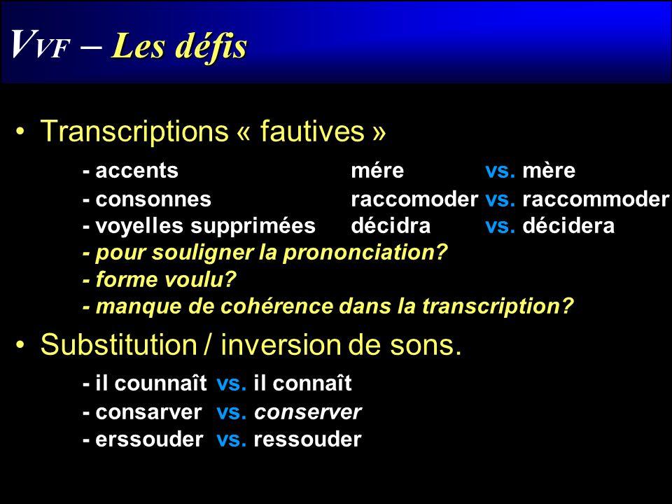 Les défis V VF – Les défis Transcriptions « fautives » - accentsmére vs. mère - consonnesraccomoder vs. raccommoder - voyelles suppriméesdécidra vs. d