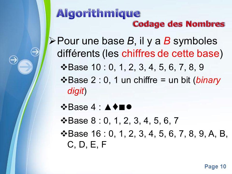 Powerpoint Templates Page 10 Pour une base B, il y a B symboles différents (les chiffres de cette base) Base 10 : 0, 1, 2, 3, 4, 5, 6, 7, 8, 9 Base 2