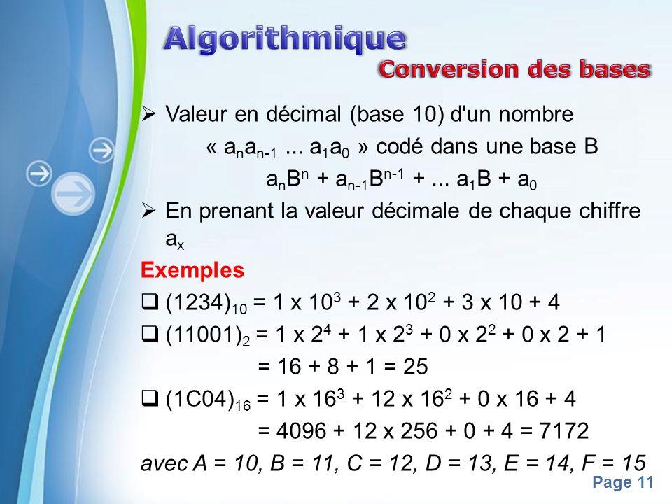 Powerpoint Templates Page 11 Valeur en décimal (base 10) d'un nombre « a n a n-1... a 1 a 0 » codé dans une base B a n B n + a n-1 B n-1 +... a 1 B +