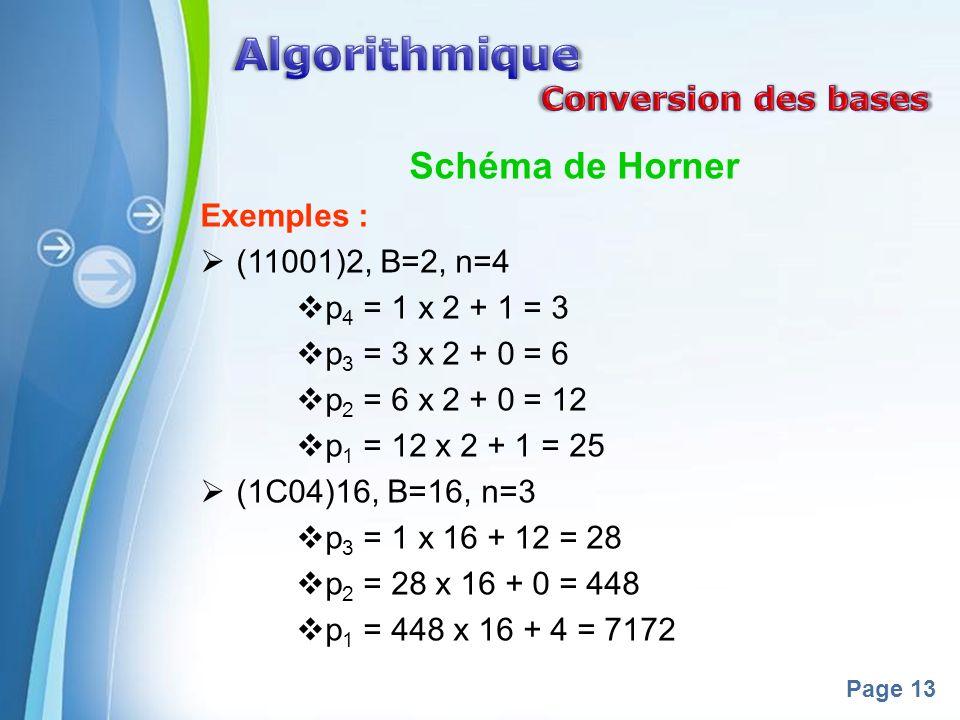 Powerpoint Templates Page 13 Schéma de Horner Exemples : (11001)2, B=2, n=4 p 4 = 1 x 2 + 1 = 3 p 3 = 3 x 2 + 0 = 6 p 2 = 6 x 2 + 0 = 12 p 1 = 12 x 2 + 1 = 25 (1C04)16, B=16, n=3 p 3 = 1 x 16 + 12 = 28 p 2 = 28 x 16 + 0 = 448 p 1 = 448 x 16 + 4 = 7172
