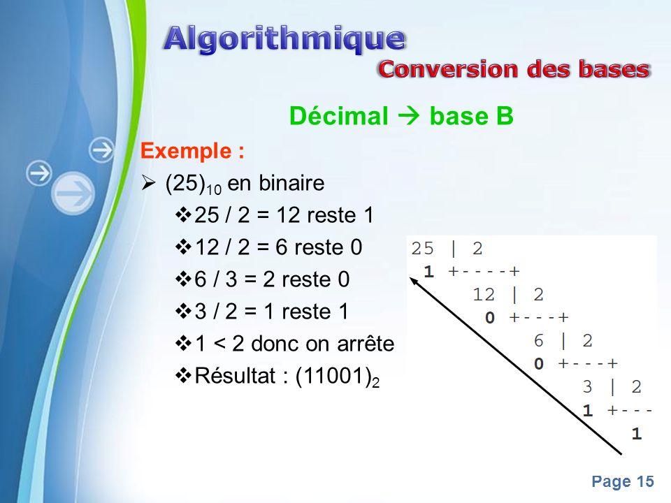 Powerpoint Templates Page 15 Décimal base B Exemple : (25) 10 en binaire 25 / 2 = 12 reste 1 12 / 2 = 6 reste 0 6 / 3 = 2 reste 0 3 / 2 = 1 reste 1 1 < 2 donc on arrête Résultat : (11001) 2