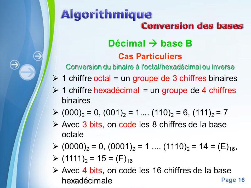 Powerpoint Templates Page 16 Décimal base B Cas Particuliers Conversion du binaire à l octal/hexadécimal ou inverse 1 chiffre octal = un groupe de 3 chiffres binaires 1 chiffre hexadécimal = un groupe de 4 chiffres binaires (000) 2 = 0, (001) 2 = 1....
