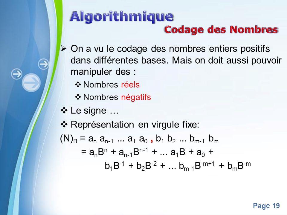 Powerpoint Templates Page 19 On a vu le codage des nombres entiers positifs dans différentes bases. Mais on doit aussi pouvoir manipuler des : Nombres