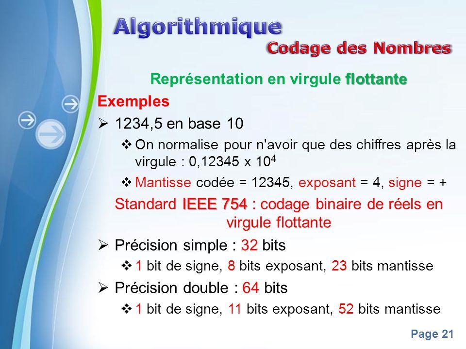Powerpoint Templates Page 21 flottante Représentation en virgule flottante Exemples 1234,5 en base 10 On normalise pour n avoir que des chiffres après la virgule : 0,12345 x 10 4 Mantisse codée = 12345, exposant = 4, signe = + IEEE 754 Standard IEEE 754 : codage binaire de réels en virgule flottante Précision simple : 32 bits 1 bit de signe, 8 bits exposant, 23 bits mantisse Précision double : 64 bits 1 bit de signe, 11 bits exposant, 52 bits mantisse