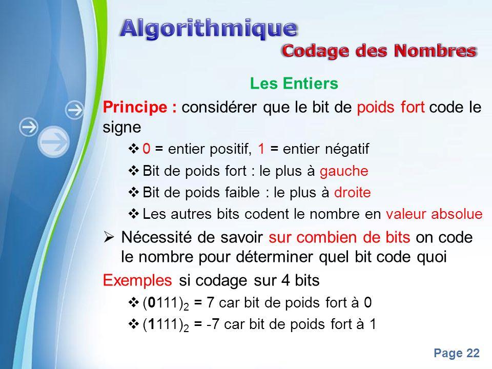Powerpoint Templates Page 22 Les Entiers Principe : considérer que le bit de poids fort code le signe 0 = entier positif, 1 = entier négatif Bit de poids fort : le plus à gauche Bit de poids faible : le plus à droite Les autres bits codent le nombre en valeur absolue Nécessité de savoir sur combien de bits on code le nombre pour déterminer quel bit code quoi Exemples si codage sur 4 bits (0111) 2 = 7 car bit de poids fort à 0 (1111) 2 = -7 car bit de poids fort à 1
