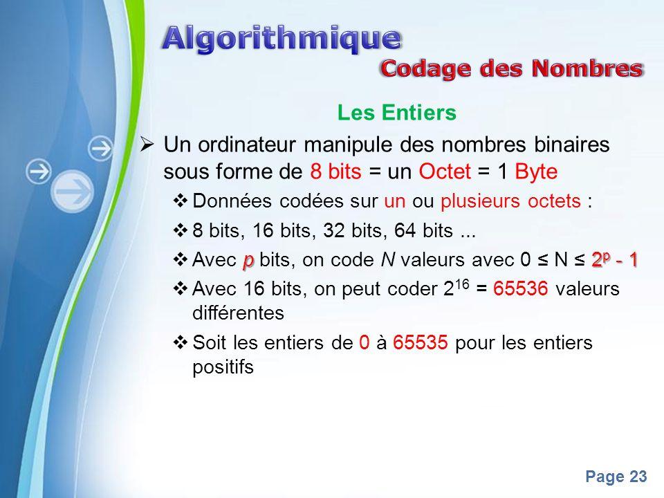 Powerpoint Templates Page 23 Les Entiers Un ordinateur manipule des nombres binaires sous forme de 8 bits = un Octet = 1 Byte Données codées sur un ou