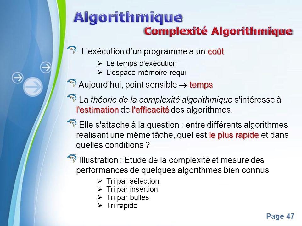 Powerpoint Templates Page 47 coût Lexécution dun programme a un coût Le temps dexécution Lespace mémoire requi temps Aujourdhui, point sensible temps l estimation l efficacité La théorie de la complexité algorithmique s intéresse à l estimation de l efficacité des algorithmes.