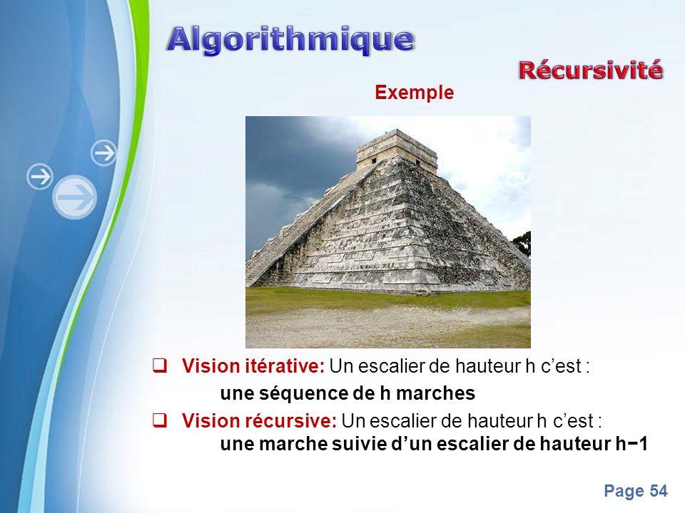 Powerpoint Templates Page 54 Exemple Vision itérative: Un escalier de hauteur h cest : une séquence de h marches Vision récursive: Un escalier de haut