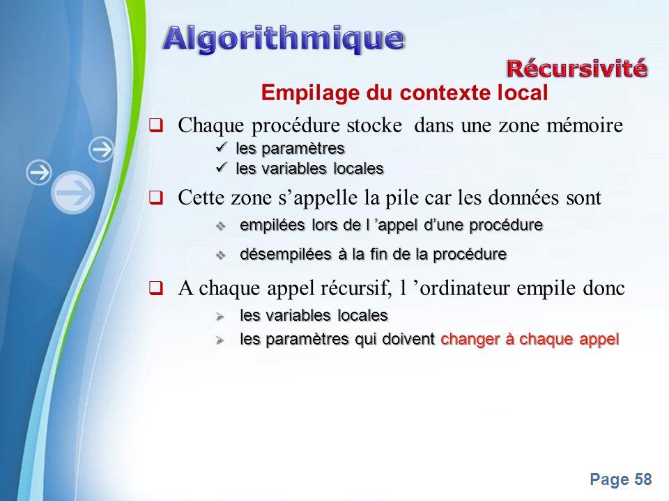 Powerpoint Templates Page 58 Empilage du contexte local Chaque procédure stocke dans une zone mémoire les paramètres les paramètres les variables loca
