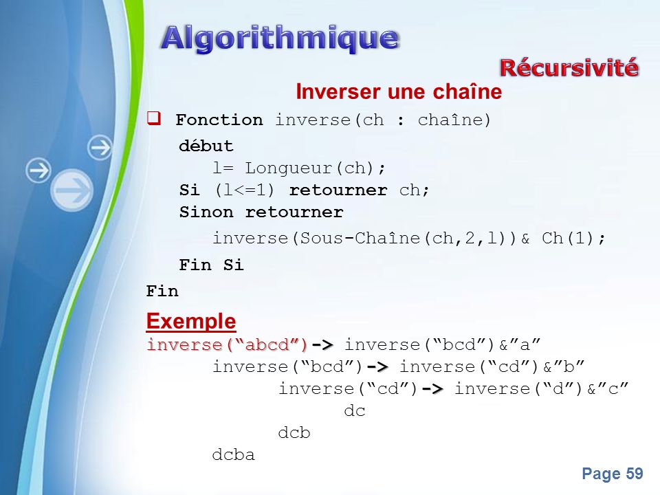Powerpoint Templates Page 59 Inverser une chaîne Fonction inverse(ch : chaîne) début l= Longueur(ch); Si (l<=1) retourner ch; Sinon retourner inverse(Sous-Chaîne(ch,2,l))& Ch(1); Fin Si Fin Exemple inverse(abcd)-> inverse(abcd)-> inverse(bcd)&a -> inverse(bcd)-> inverse(cd)&b -> inverse(cd)-> inverse(d)&c dc dcb dcba