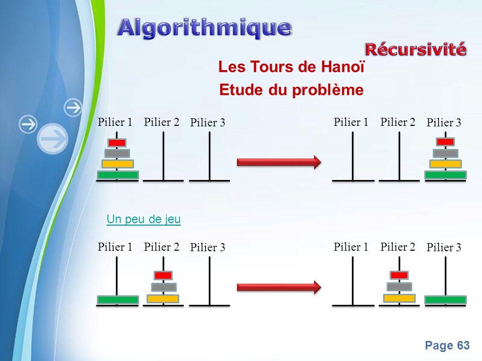 Powerpoint Templates Page 63 Les Tours de Hanoï Etude du problème Un peu de jeu Pilier 1 Pilier 2 Pilier 3 Pilier 1Pilier 2 Pilier 3 Pilier 1 Pilier 2