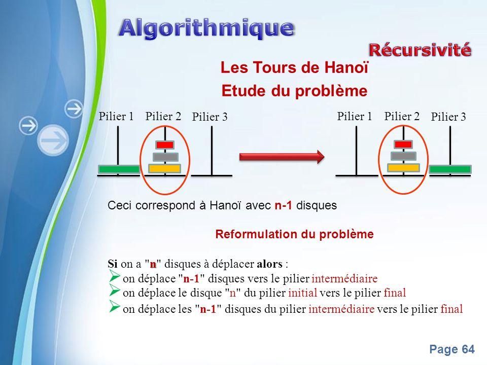 Powerpoint Templates Page 64 Les Tours de Hanoï Etude du problème Ceci correspond à Hanoï avec n-1 disques Reformulation du problème n Si on a