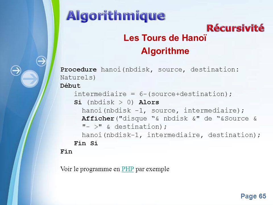 Powerpoint Templates Page 65 Les Tours de Hanoï Algorithme Procedure hanoi(nbdisk, source, destination: Naturels) Début intermediaire = 6-(source+destination); Si (nbdisk > 0) Alors hanoi(nbdisk -1, source, intermediaire); Afficher( disque & nbdisk & de &Source & - > & destination); hanoi(nbdisk-1, intermediaire, destination); Fin Si Fin Voir le programme en PHP par exemplePHP