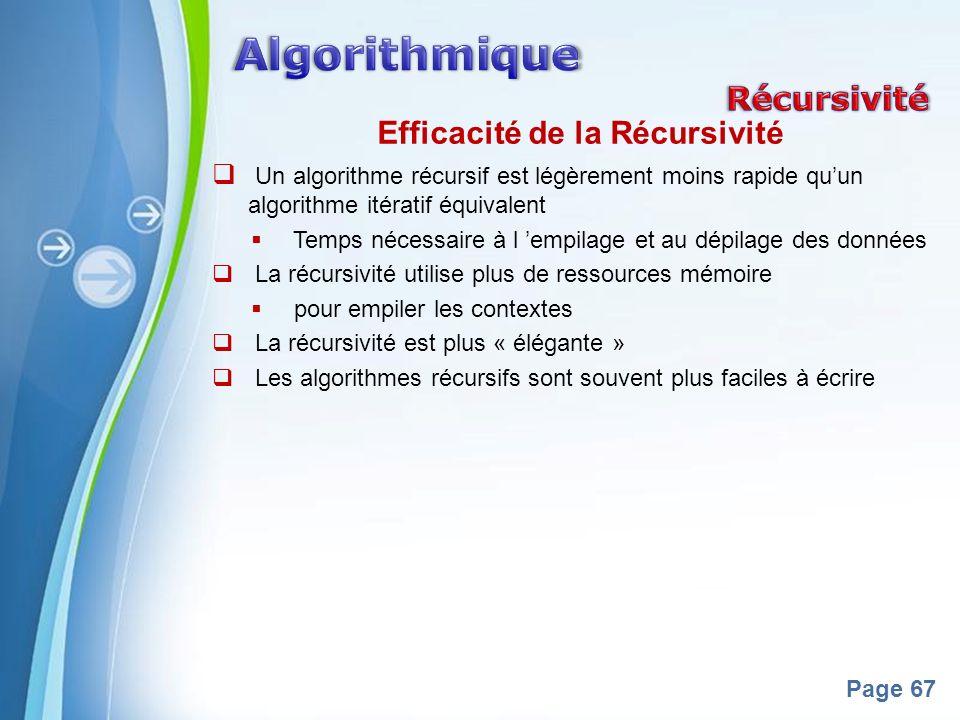 Powerpoint Templates Page 67 Efficacité de la Récursivité Un algorithme récursif est légèrement moins rapide quun algorithme itératif équivalent Temps nécessaire à l empilage et au dépilage des données La récursivité utilise plus de ressources mémoire pour empiler les contextes La récursivité est plus « élégante » Les algorithmes récursifs sont souvent plus faciles à écrire