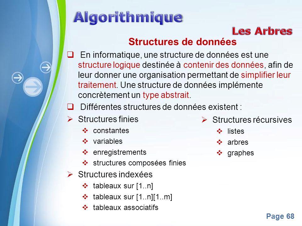 Powerpoint Templates Page 68 Structures de données En informatique, une structure de données est une structure logique destinée à contenir des données, afin de leur donner une organisation permettant de simplifier leur traitement.