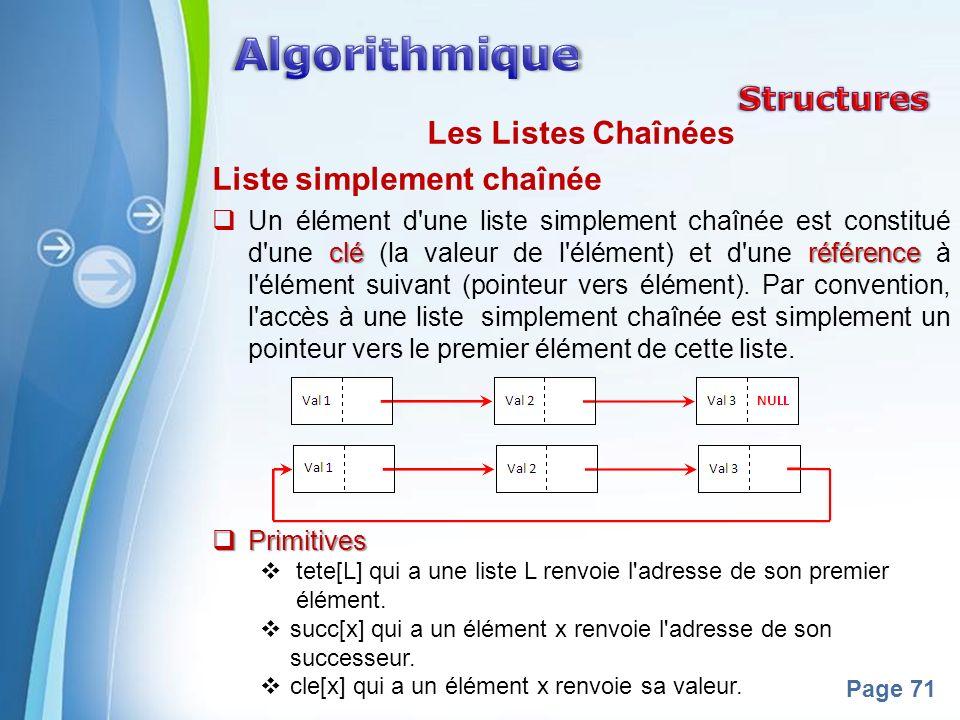 Powerpoint Templates Page 71 Les Listes Chaînées Liste simplement chaînée cléréférence Un élément d une liste simplement chaînée est constitué d une clé (la valeur de l élément) et d une référence à l élément suivant (pointeur vers élément).