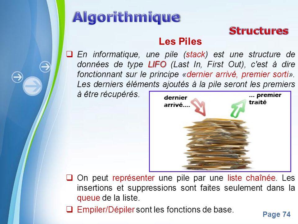 Powerpoint Templates Page 74 Les Piles LIFO En informatique, une pile (stack) est une structure de données de type LIFO (Last In, First Out), c'est à