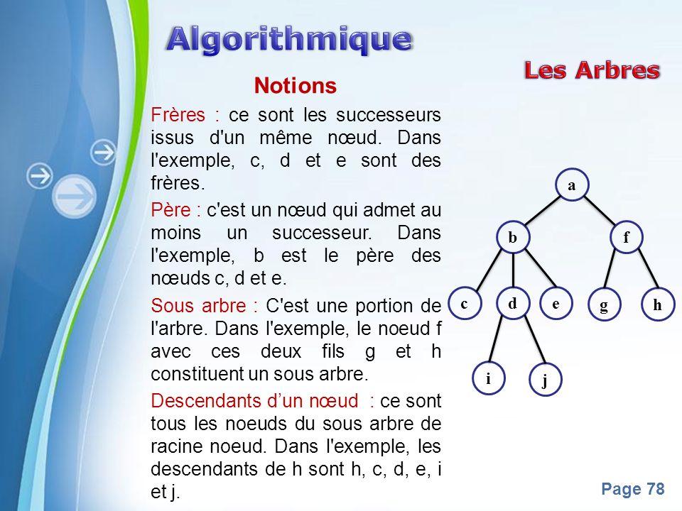 Powerpoint Templates Page 78 Notions Frères : ce sont les successeurs issus d'un même nœud. Dans l'exemple, c, d et e sont des frères. Père : c'est un