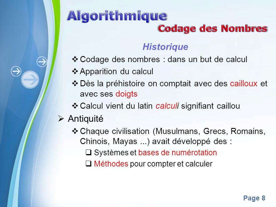 Powerpoint Templates Page 8 Historique Codage des nombres : dans un but de calcul Apparition du calcul Dès la préhistoire on comptait avec des caillou