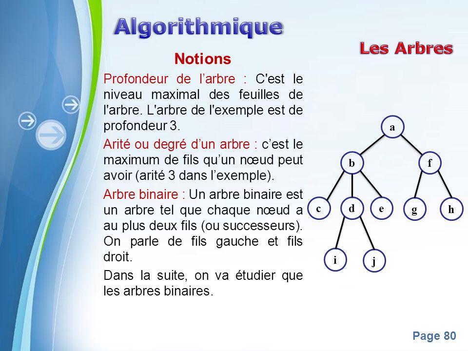 Powerpoint Templates Page 80 Notions Profondeur de larbre : C'est le niveau maximal des feuilles de l'arbre. L'arbre de l'exemple est de profondeur 3.