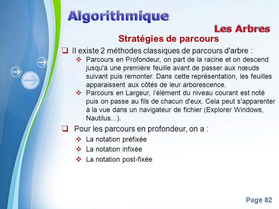 Powerpoint Templates Page 82 Stratégies de parcours Il existe 2 méthodes classiques de parcours d arbre : Parcours en Profondeur, on part de la racine et on descend jusqu à une première feuille avant de passer aux nœuds suivant puis remonter.