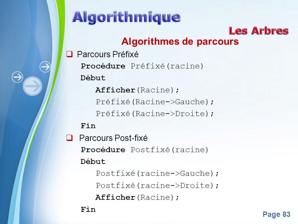 Powerpoint Templates Page 83 Algorithmes de parcours Parcours Préfixé Procédure Préfixé(racine) Début Afficher(Racine); Préfixé(Racine->Gauche); Préfi