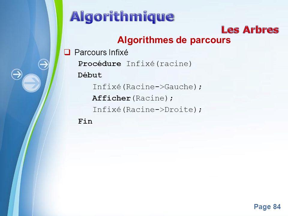 Powerpoint Templates Page 84 Algorithmes de parcours Parcours Infixé Procédure Infixé(racine) Début Infixé(Racine->Gauche); Afficher(Racine); Infixé(Racine->Droite); Fin