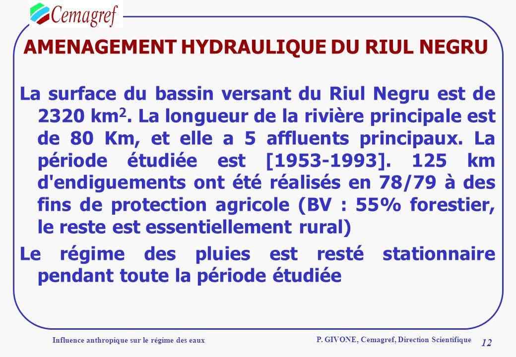Influence anthropique sur le régime des eaux 12 P. GIVONE, Cemagref, Direction Scientifique AMENAGEMENT HYDRAULIQUE DU RIUL NEGRU La surface du bassin
