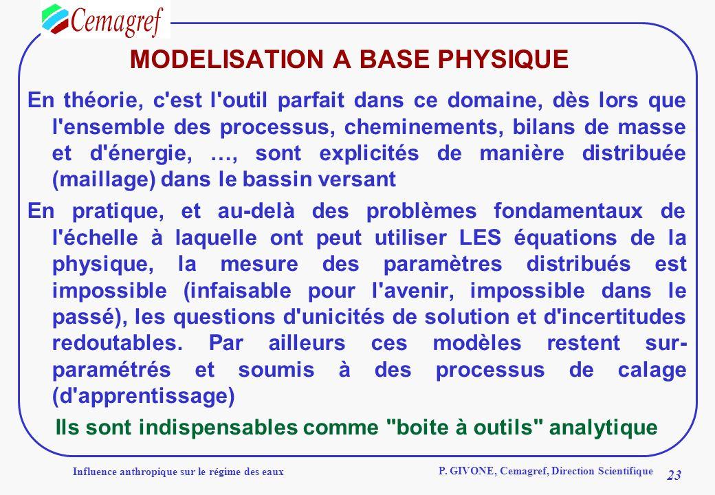 Influence anthropique sur le régime des eaux 23 P. GIVONE, Cemagref, Direction Scientifique MODELISATION A BASE PHYSIQUE En théorie, c'est l'outil par