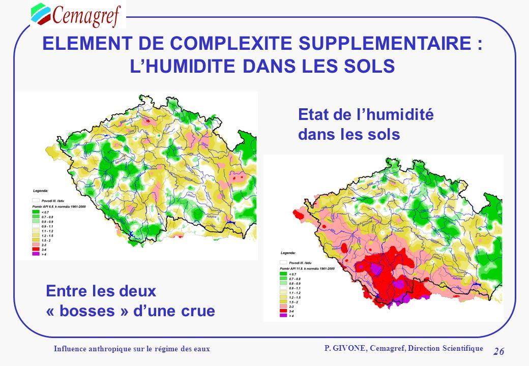 Influence anthropique sur le régime des eaux 26 P. GIVONE, Cemagref, Direction Scientifique ELEMENT DE COMPLEXITE SUPPLEMENTAIRE : LHUMIDITE DANS LES
