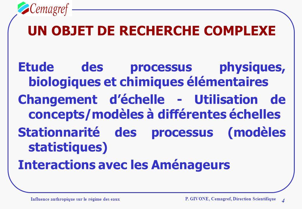 Influence anthropique sur le régime des eaux 4 P. GIVONE, Cemagref, Direction Scientifique UN OBJET DE RECHERCHE COMPLEXE Etude des processus physique