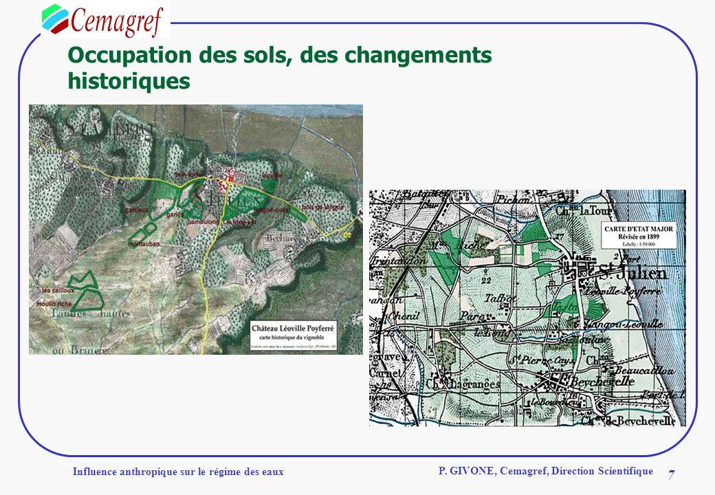 Influence anthropique sur le régime des eaux 7 P. GIVONE, Cemagref, Direction Scientifique Occupation des sols, des changements historiques