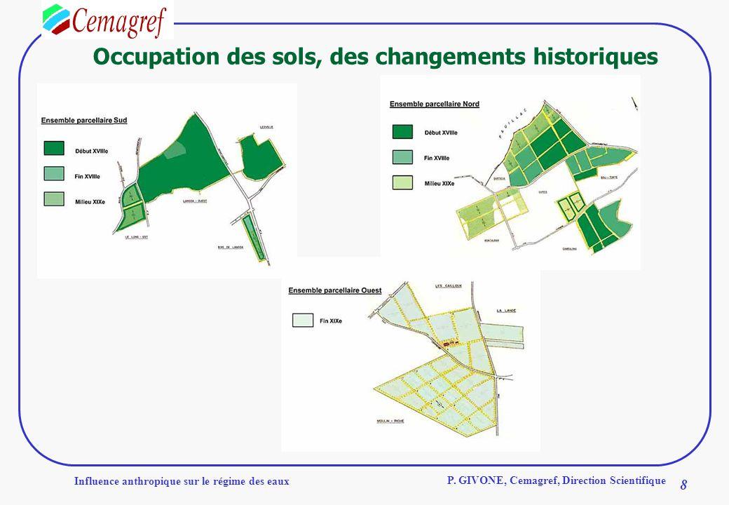 Influence anthropique sur le régime des eaux 8 P. GIVONE, Cemagref, Direction Scientifique Occupation des sols, des changements historiques