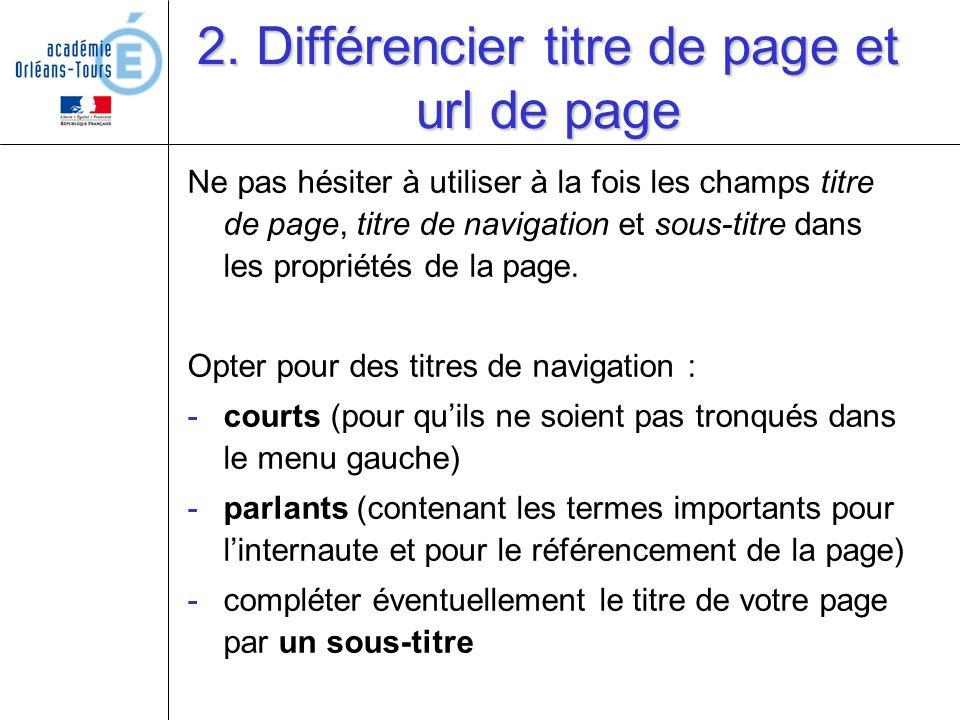 2. Différencier titre de page et url de page Ne pas hésiter à utiliser à la fois les champs titre de page, titre de navigation et sous-titre dans les