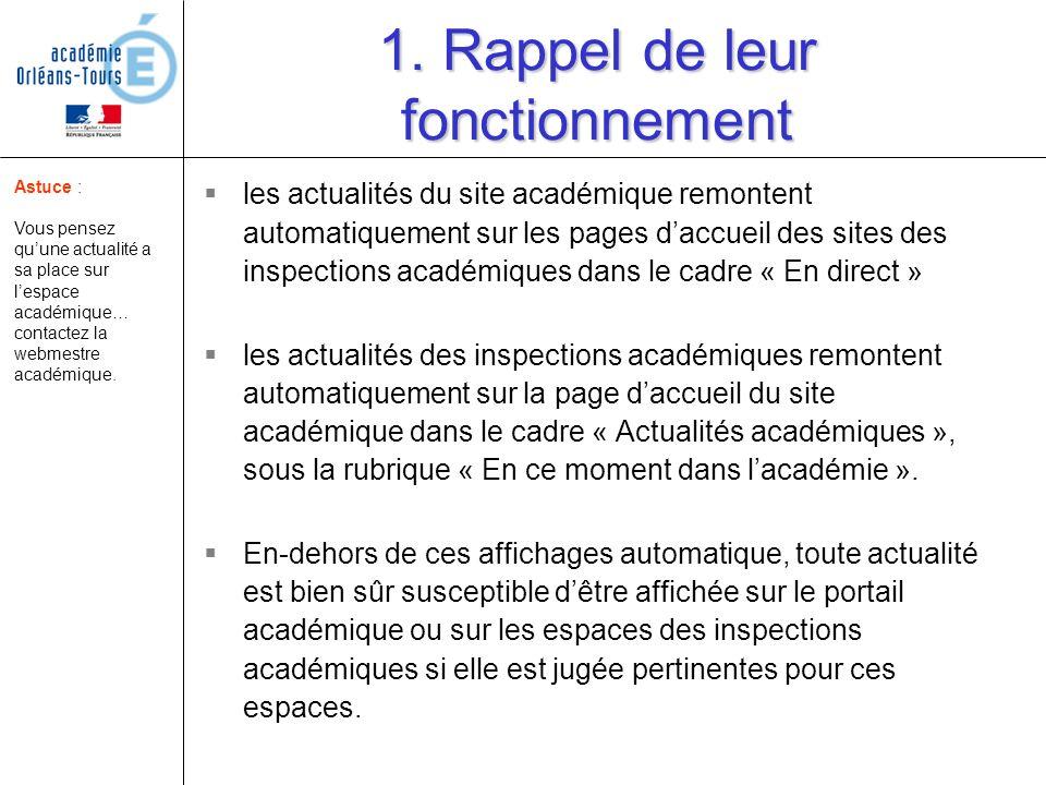 1. Rappel de leur fonctionnement les actualités du site académique remontent automatiquement sur les pages daccueil des sites des inspections académiq