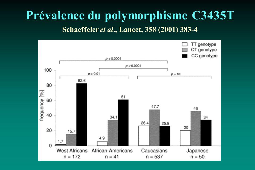 Prévalence du polymorphisme C3435T Schaeffeler et al., Lancet, 358 (2001) 383-4