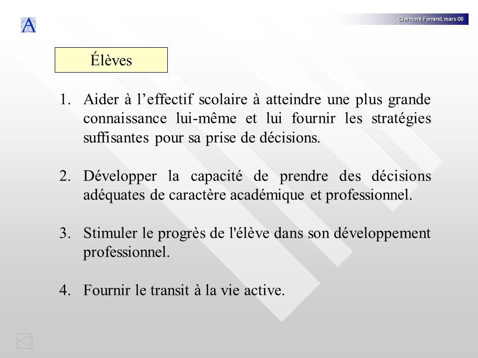 Clermont-Ferrand, mars 08 Élèves 1.Aider à leffectif scolaire à atteindre une plus grande connaissance lui-même et lui fournir les stratégies suffisantes pour sa prise de décisions.