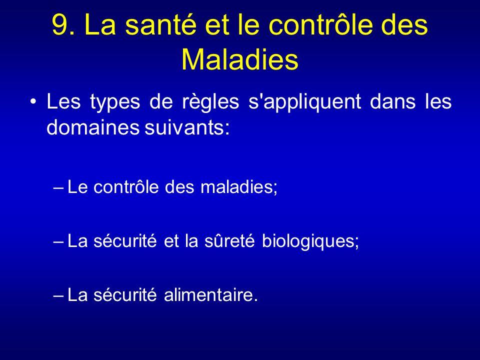 9. La santé et le contrôle des Maladies Les types de règles s'appliquent dans les domaines suivants: –Le contrôle des maladies; –La sécurité et la sûr