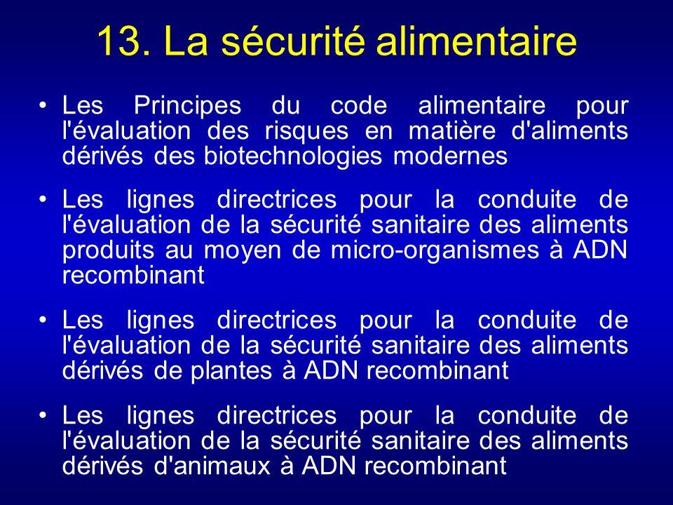 13. La sécurité alimentaire Les Principes du code alimentaire pour l'évaluation des risques en matière d'aliments dérivés des biotechnologies modernes