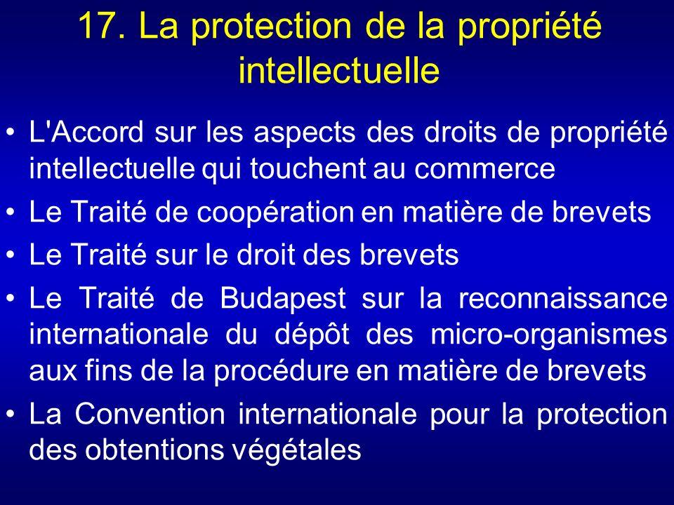 17. La protection de la propriété intellectuelle L'Accord sur les aspects des droits de propriété intellectuelle qui touchent au commerce Le Traité de
